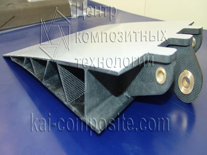 Pilot spoiler sample with integrated composite rack