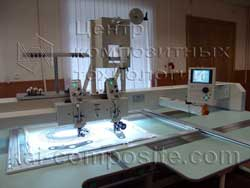 Multihead embroidery machine with fiber placement
